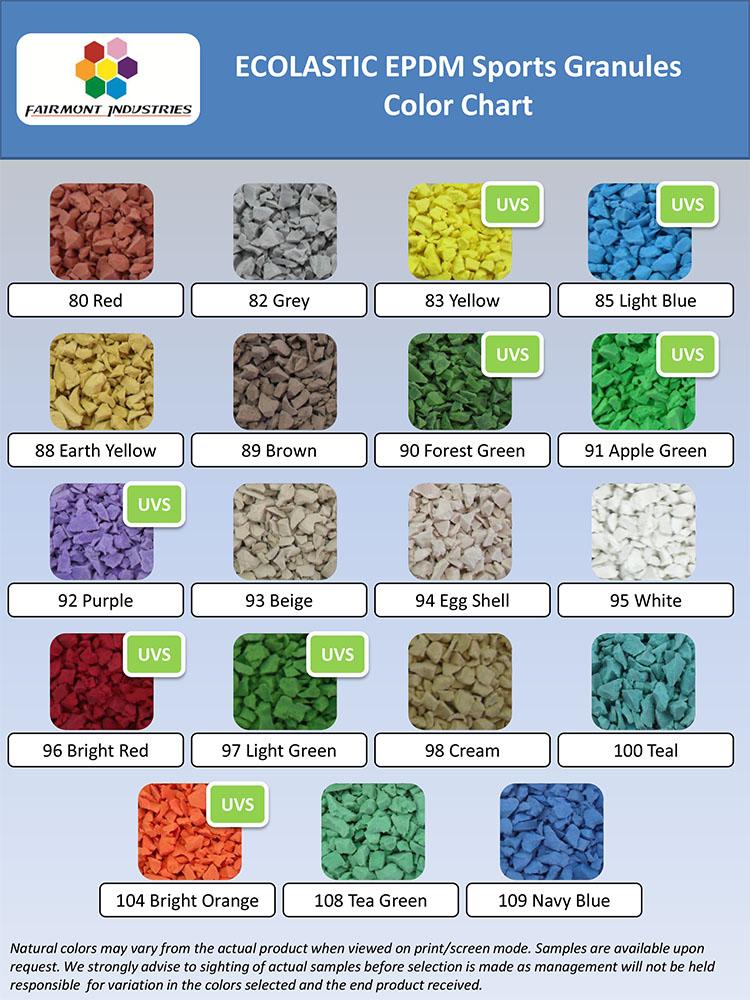 EPDM colour chart